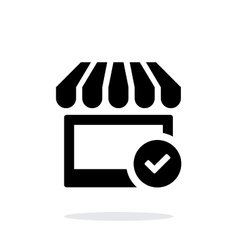 Shop check icon on white background vector