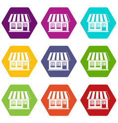 shop icon set color hexahedron vector image