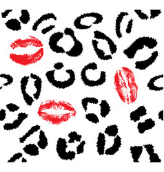 snow leopard red lips vector image