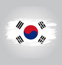 South korean flag brush grunge background vector