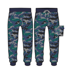 Sport pants with camouflage fabric design vector