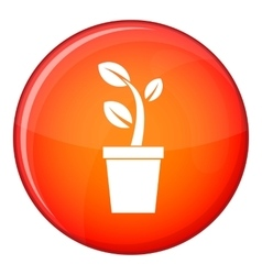 Sprout in pot icon flat style vector