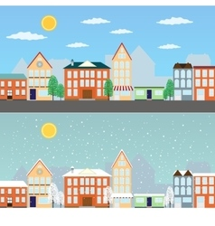 Summer and winter cityscapes vector image vector image