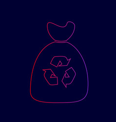 Trash bag icon line icon with gradient vector