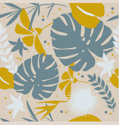 Tropical seamless pattern with exotic palm leaves vector
