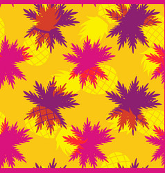 Tropical summer pineapple palm leaf pattern vector