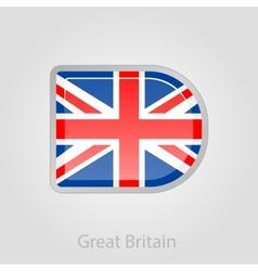 United Kingdom flag button vector image