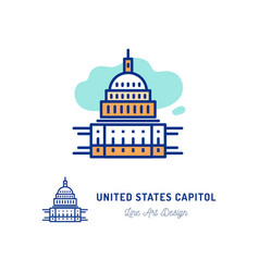 United states capitol icon thin line art colorful vector