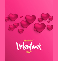 valentines day pink heart shape love concept card vector image