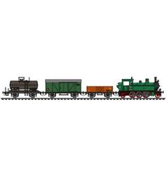 Vintage freight steam train vector