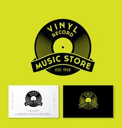 vinyl record with ribbon logo vintage music vector image