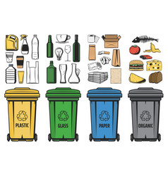 Waste bins sorted garbage trash for recycling vector