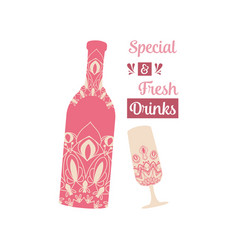 Wine bottle and glass alcohol with indian red vector