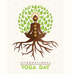 Yoga day card buddha tree in lotus pose vector