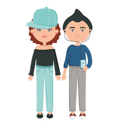 young couple with sport cap and earphones vector image