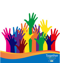 Colorful raised hands vector image
