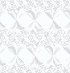 Quilling white paper striped hearts in row vector