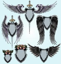 royal emblem shield set vector image vector image