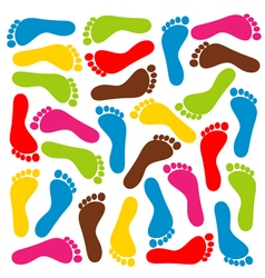 colorful footprints vector image vector image