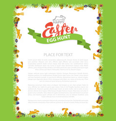 easter egg hunt invitation flyer design with bunny vector image vector image