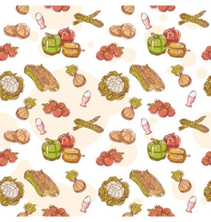 Fresh vegetables hand drawn seamless pattern vector image vector image