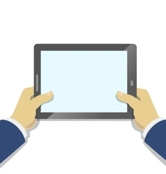 Hand holding tablet pc with blank screen Flat vector image