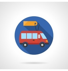 Minibus business round flat color icon vector image vector image