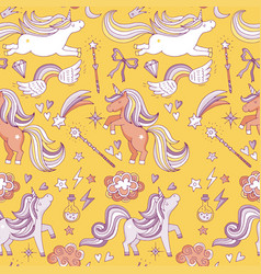 seamless pattern with funny magic elements vector image