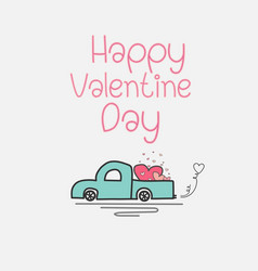 valentine day card with heart truck and love vector image