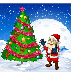 A smiling santa beside the giant christmas tree vector image vector image
