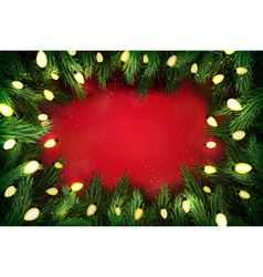 Christmas pine wreath with lights on red vector image