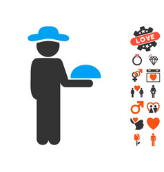 gentleman waiter icon with valentine bonus vector image