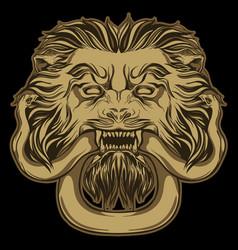 gold lion holding a snake on black door knocker vector image