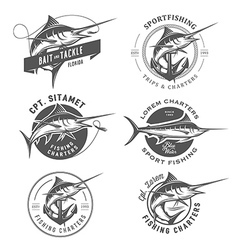 Set of marlin fishing emblems and design elements vector