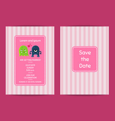 wedding invitation template with cute vector image vector image