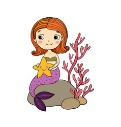 beautiful little mermaid with a starfish sitting vector image vector image