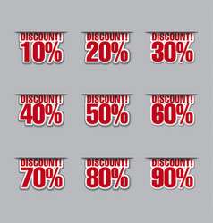 discount labels with percents vector image