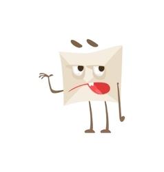 Grumpy Humanized Letter Paper Envelop Cartoon vector image