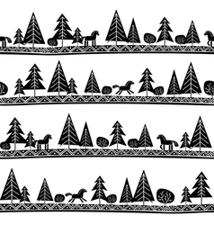 horse and trees seamless pattern vector image