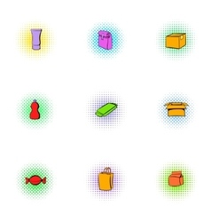 Pack icons set pop-art style vector image