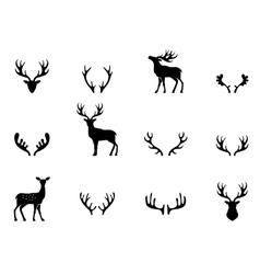 Set of antlers silhouette vector