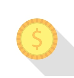 simple dollar coin with long shadow vector image vector image