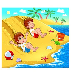 Twins are playing on the beach vector image vector image