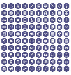 100 college icons hexagon purple vector