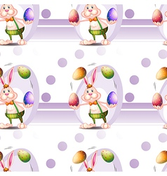 A seamless design with a bunny and easter eggs vector