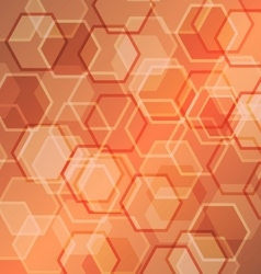 Abstract orange gradient background with hexagon vector image