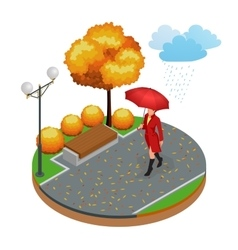 Beautiful girl with umbrella at autumn park vector image