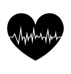 Black silhouette shape heart with signs of life vector