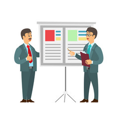 Boss giving presentation workers by whiteboard vector
