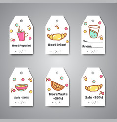 breakfast tags and hanging for cafe bar bakery vector image
